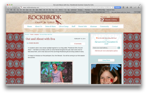 Rockbrook Camp's latest blog post: Out and About with Eva